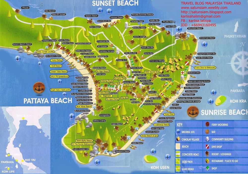 guide koh lipe blog island map