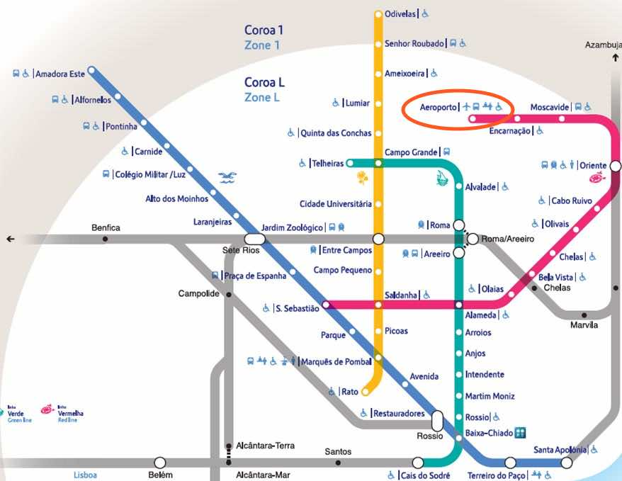 lisbon airport to downtown metro map diagram
