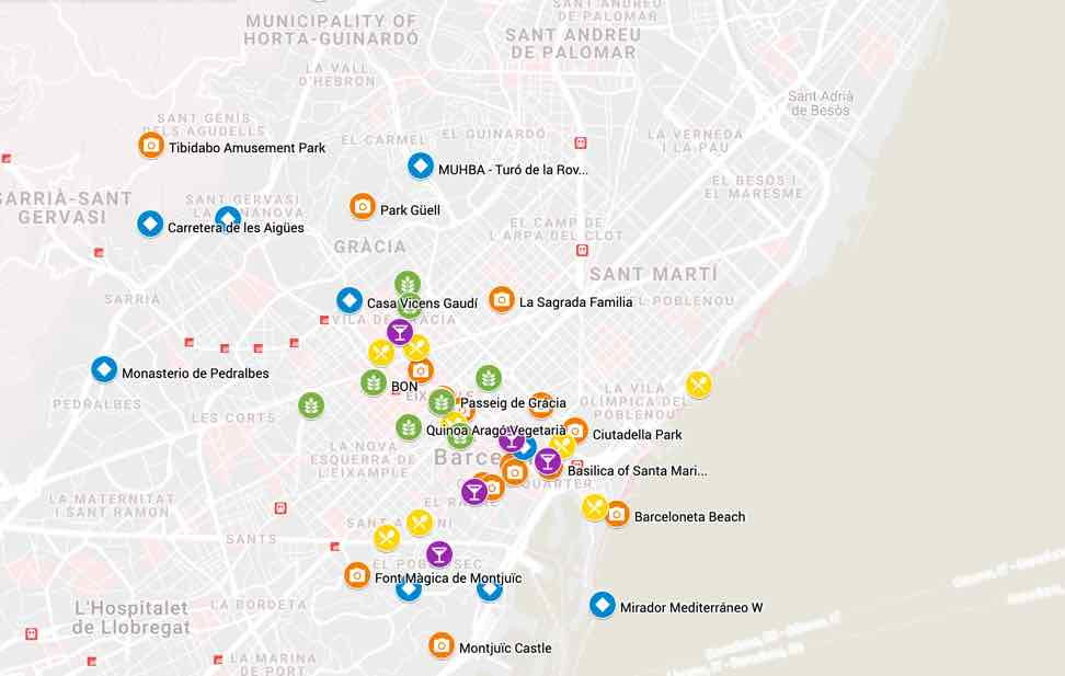 map tourist attractions barcelona